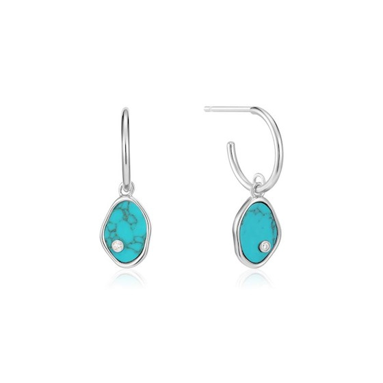 Ania Haie Turning Tides Zilveren Mini Oorringen met Turquoise Hangers