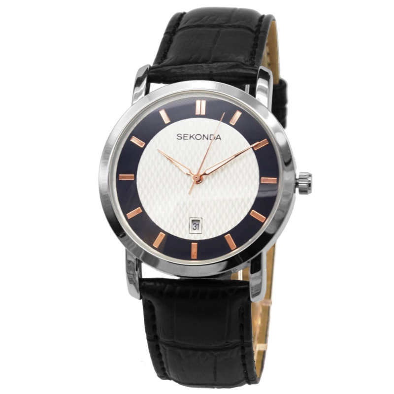 Zilverkleurig Heren Horloge met Roségoudkleurige Elementen