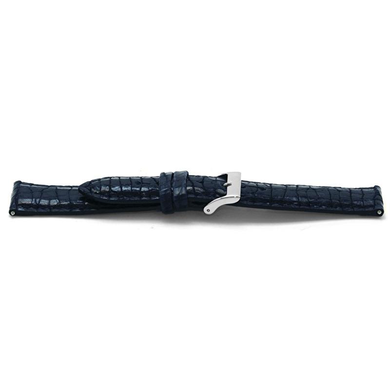 Horlogeband C604 Leer Blauw Alligator Look 12x10 mm
