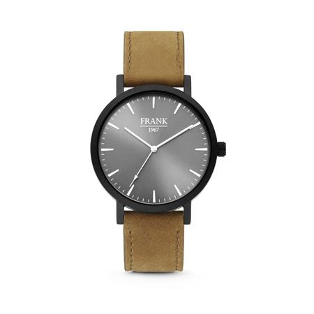 Zwart Horloge van Frank 1967 met Grijze Wijzerplaat en Bruine Horlogeband