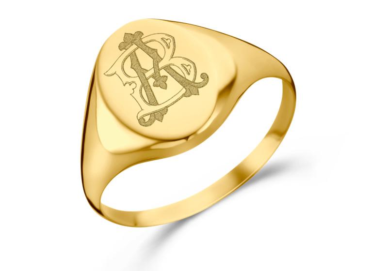 Gouden Ovale Zegelring met Twee Initialen | Names4ever