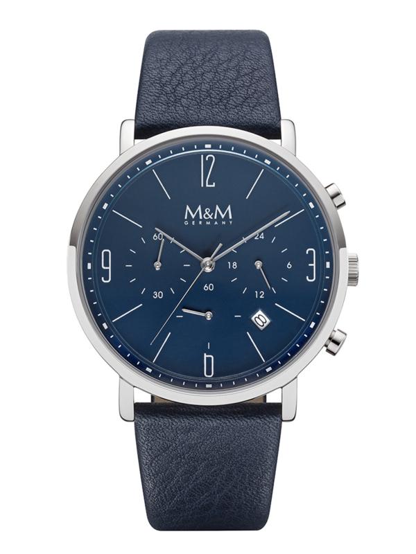 M&M Heren Horloge met Blauw Lederen Horlogeband en Blauwe Wijzerplaat