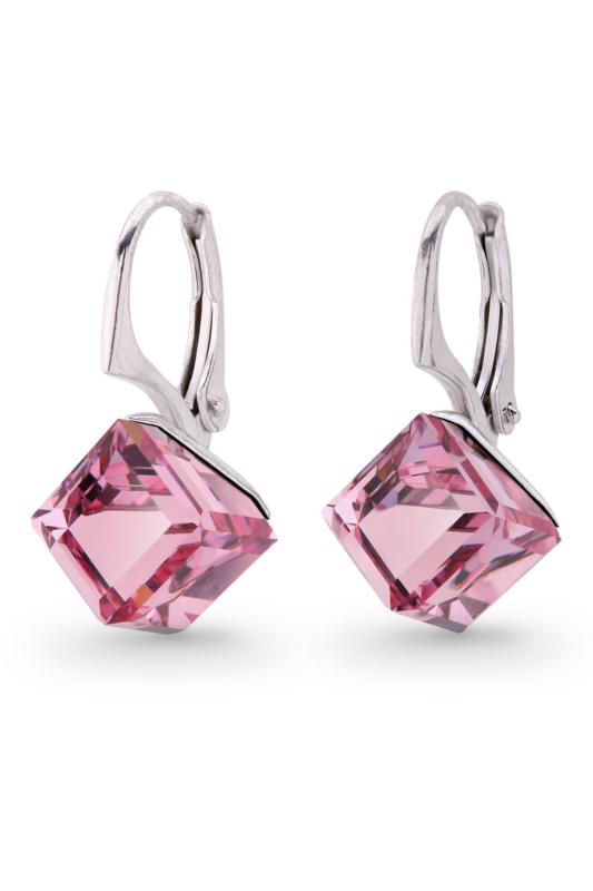 Kubus Roze Glaskristallen Oorbellen van Spark Jewelry