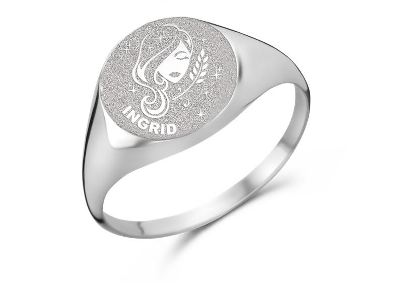 Zilveren Zegelring Rond met Horoscoop en Naam   Names4ever