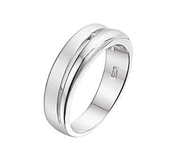Zilveren Ring met Rhodium en Diamant / Ringmaat 19