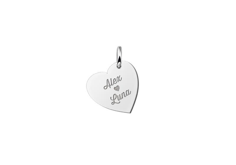 Zilveren Hart Hanger met Namen van Names4ever