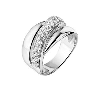 Compacte Bolle Zilveren Ring met Rhodium en Zirkonia's / Maat 19,7