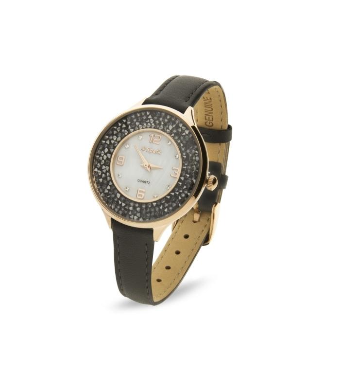 Oriso Horloge Met Zwart Lederen Horlogeband van Spark