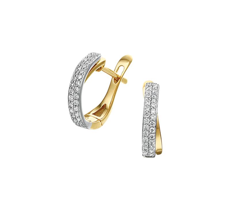 Geelgouden met Witgouden Klapcreolen met Dubbele Diamant 0.18 ct Rij