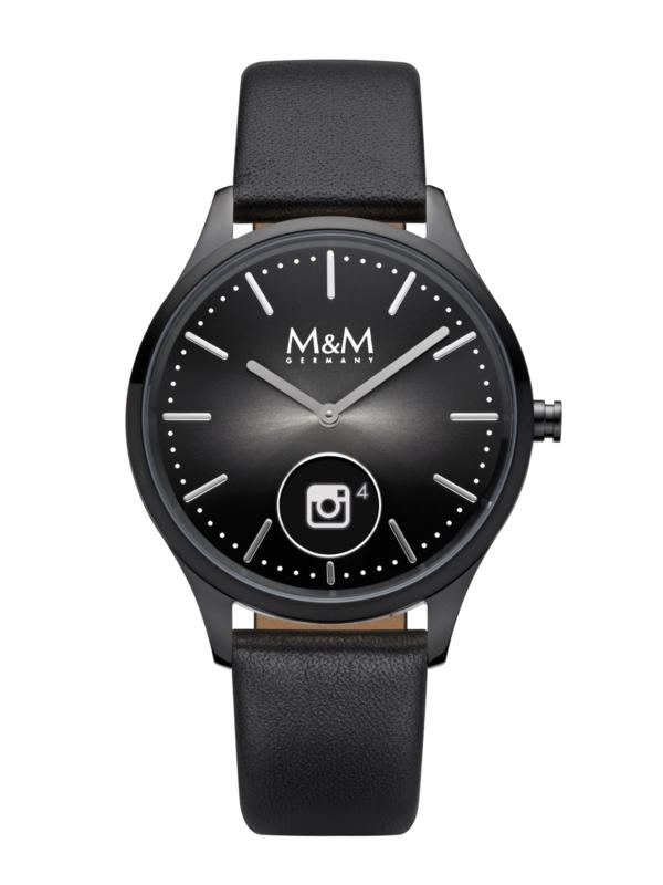 Zwart Hybrid Smart Watch met Zwart Lederen Band van M&M