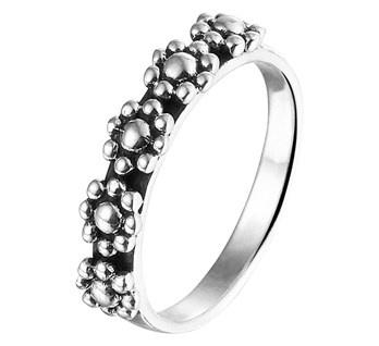 Geoxideerd Zilveren Ring met Bolletjes Bloemen / Maat 18,5
