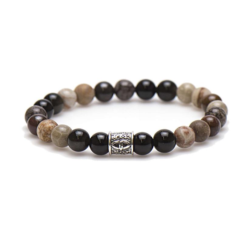 Karma Nevada Natuursteen Kralen Armband met Bedel 86638