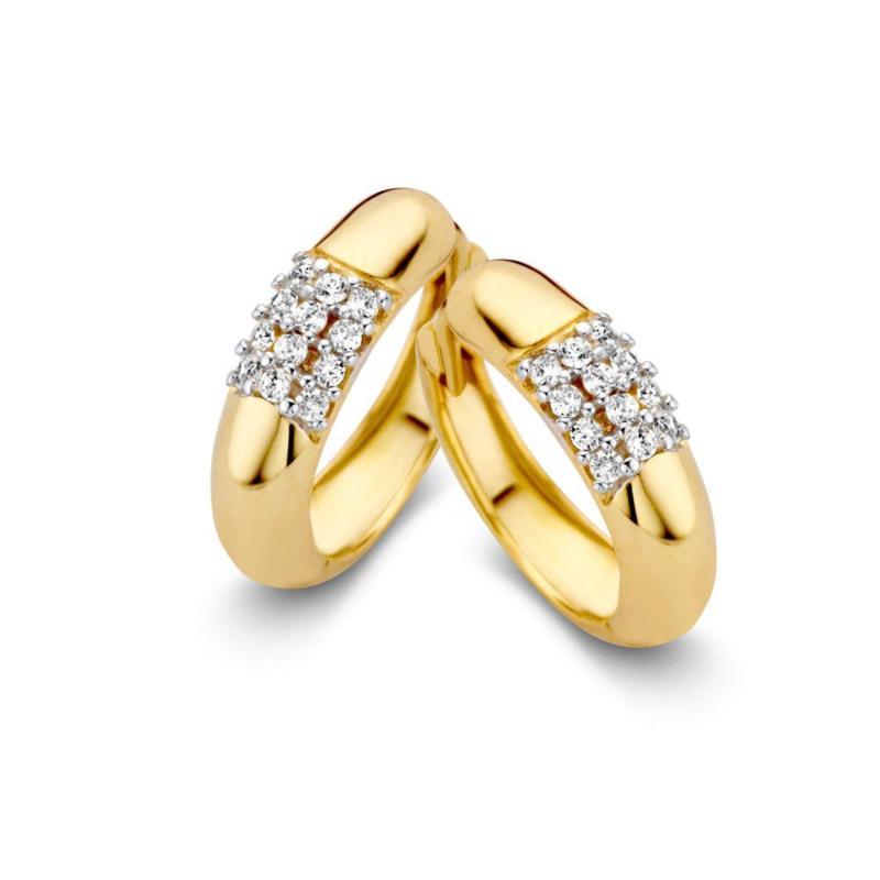 Excellent Jewelry Geelgouden Bolstaande Creolen met Zirkonia Vlak