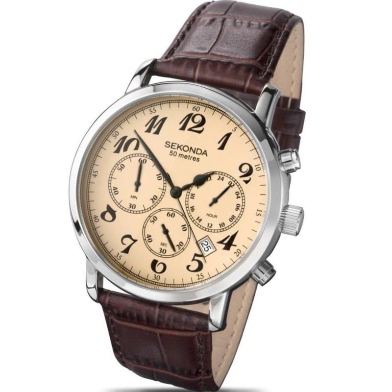 Klassiek Heren Horloge van Sekonda met Beige Wijzerplaat
