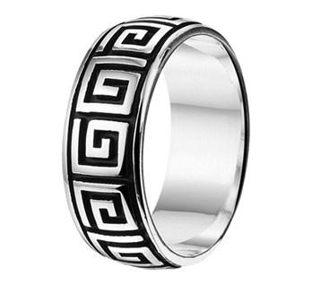 Geoxideerd Zilveren Ring voor Heren met Zilveren Patroon - Graveer Ring