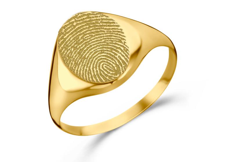 Gouden Zegelring Ovaal met Vingerafdruk   Names4ever