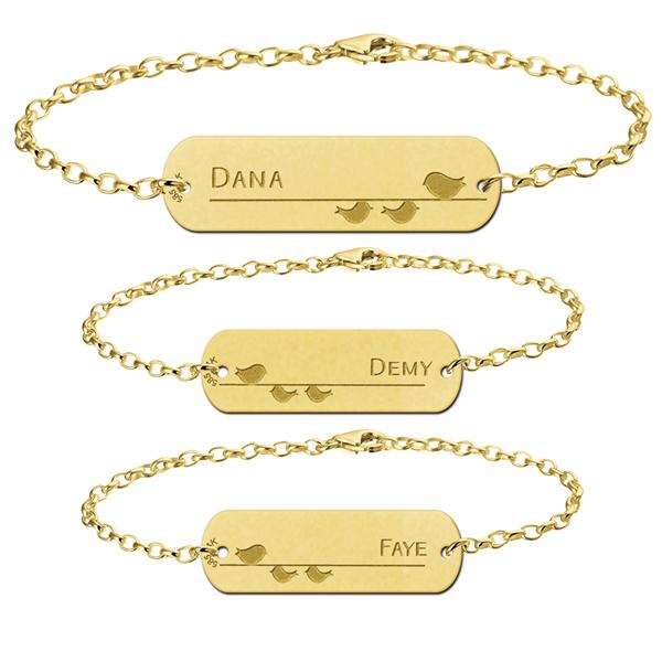 Gouden Moeder Dochter Armbandjes Set van Drie met Vogeltjes > Names4ever