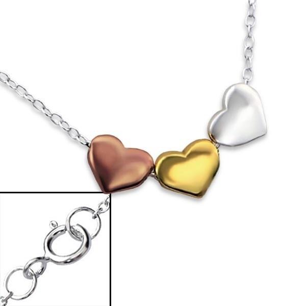 Triple Hearts aan Zilveren Ketting + Wenskaart