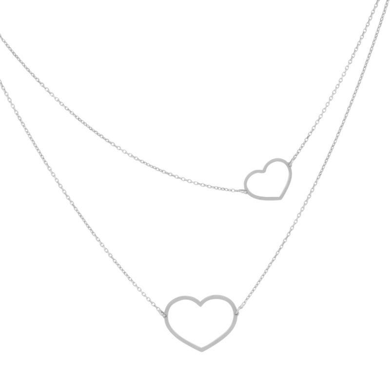 Super Stylish Zilveren Ketting met Open Hartjes