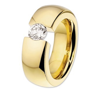Goudkleurige Stalen Dames Ring met Zirkonia | Graveer Ring