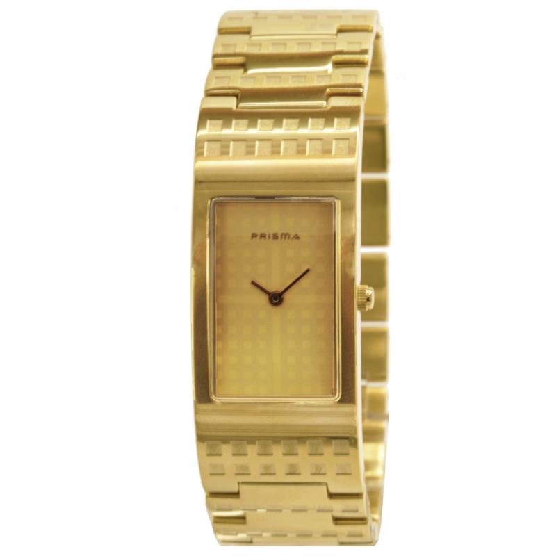 Prisma Goudkleurig Dames Horloge met Rechthoekig Ontwerp