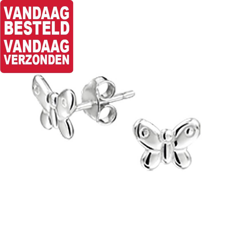 Vlinder Oorknoppen van Zilver