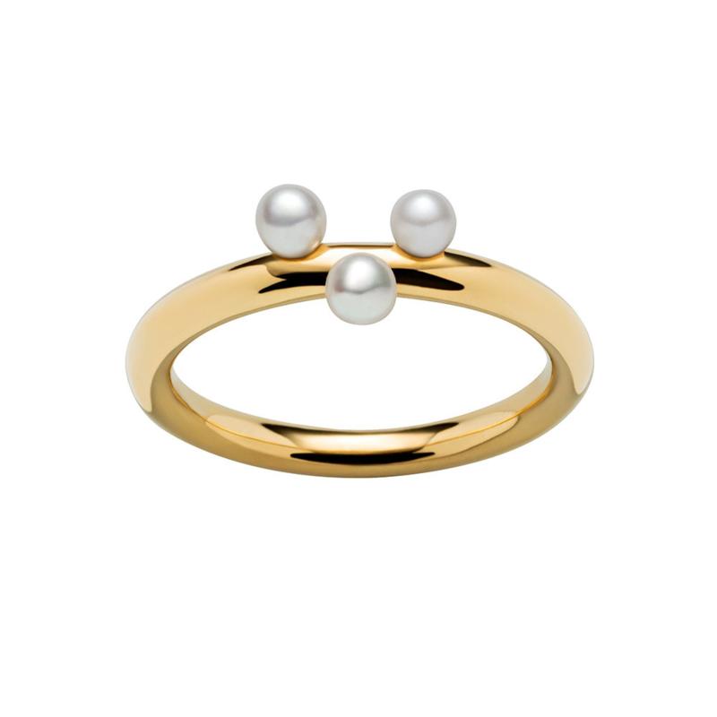 Goudkleurige Ring met Drie Zoetwaterparels van M&M