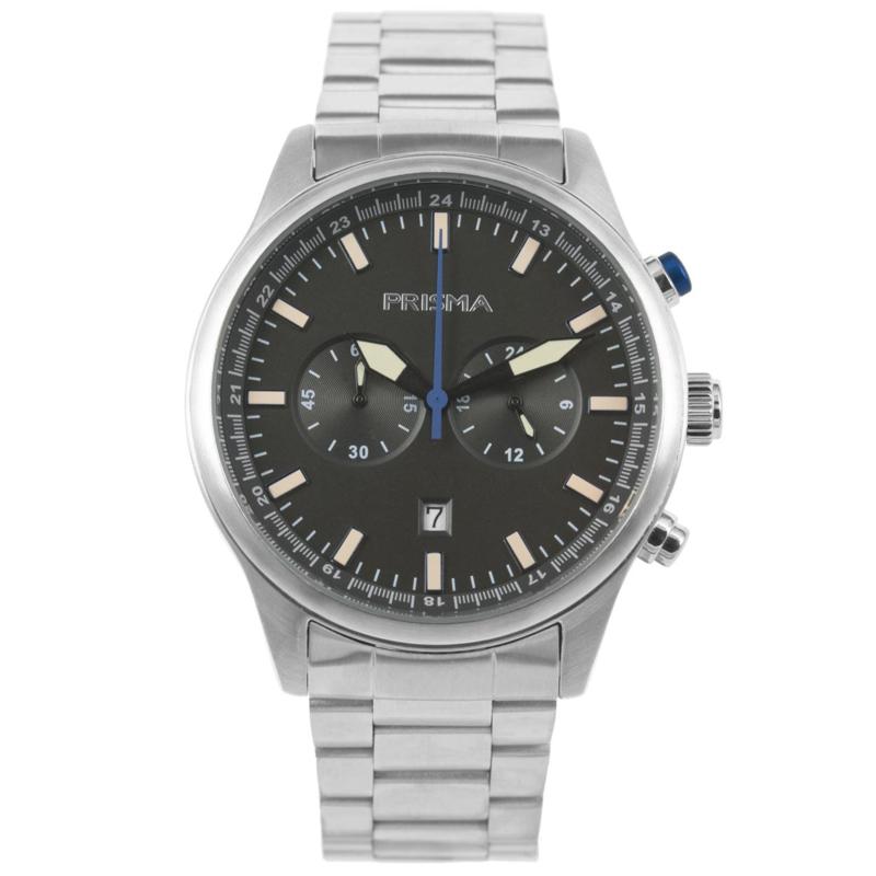 Edelstalen Chronograaf Prisma Heren Horloge met Grijze Wijzerplaat