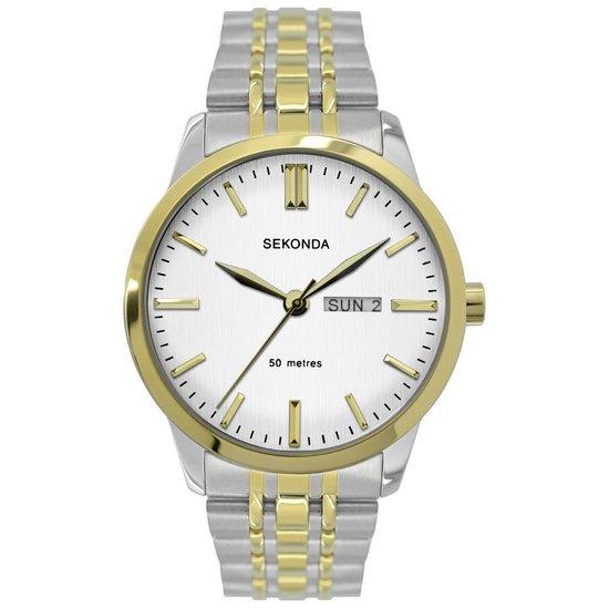 Sekonda Zilver- met Goudkleurig Heren Horloge met Witte Wijzerplaat