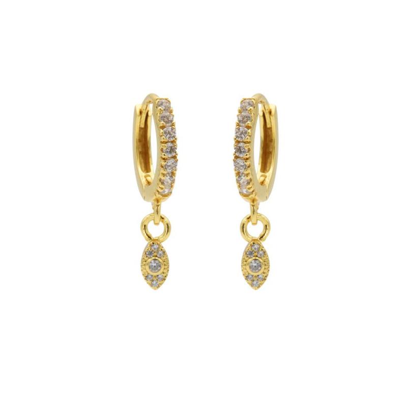 Goudkleurige Oorhangers met Kleurloze Zirkonia's | Karma Jewelry