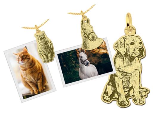 Heb je nou een leuke foto van je hond of kat of misschien wel je paard? Dan krijgt de hanger de vorm van het dier!