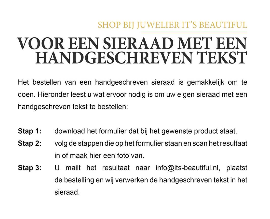 Shop bij juwelier It's Beautiful voor een sieraad met een handgeschreven tekst.