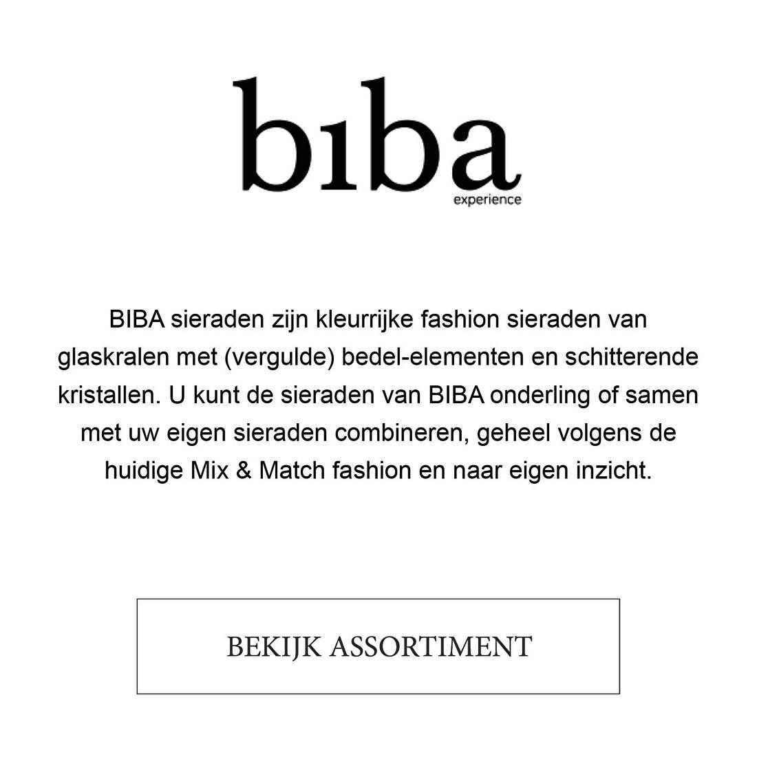 BIBA sieraden zijn kleurrijke fashion sieraden van glaskralen met (vergulde) bedel-elementen en schitterende kristallen. U kunt de sieraden van BIBA onderling of samen met uw eigen sieraden combineren, geheel volgens de huidige Mix & Match fashion en naar eigen inzicht.