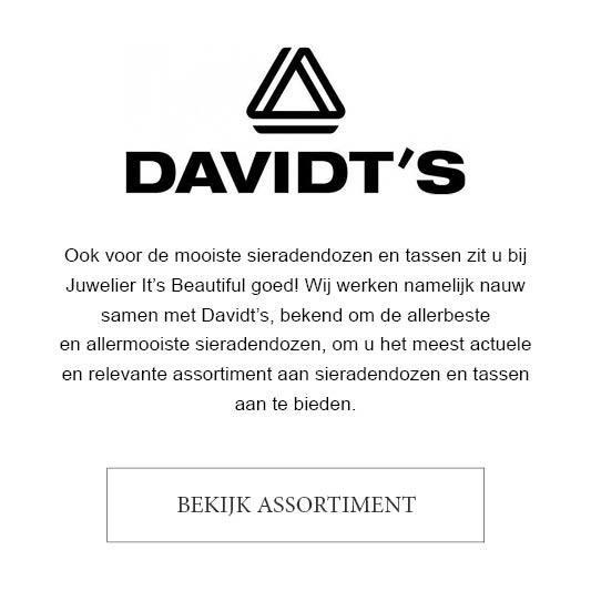 Ook voor de mooiste sieradendozen en tassen zit u bij Juwelier It's Beautiful goed! Wij werken namelijk nauw samen met Davidt's, bekend om de allerbeste  en allermooiste sieradendozen, om u het meest actuele  en relevante assortiment aan sieradendozen en tassen aan te bieden.