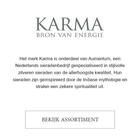 Het merk Karma is onderdeel van Aumentum, een Nederlands sieradenbedrijf gespecialiseerd in stijlvolle zilveren sieraden van de allerhoogste kwaliteit. Hun sieraden zijn geïnspireerd door de Indiase mythologie en stralen een zekere spiritualiteit uit.