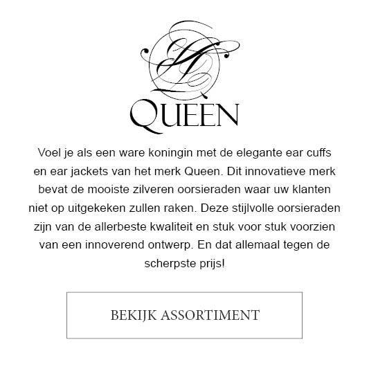 Voel je als een ware koningin met de elegante ear cuffs en ear jackets van het merk Queen. Dit innovatieve merk bevat de mooiste zilveren oorsieraden waar uw klanten niet op uitgekeken zullen raken. Deze stijlvolle oorsieraden zijn van de allerbeste kwaliteit en stuk voor stuk voorzien van een innoverend ontwerp. En dat allemaal tegen de scherpste prijs!