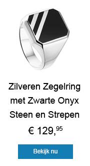 Zilveren Zegelring met Zwarte Onyx Steen en Strepen