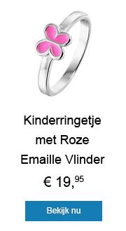Kinderringetje met Roze Emaille Vlinder