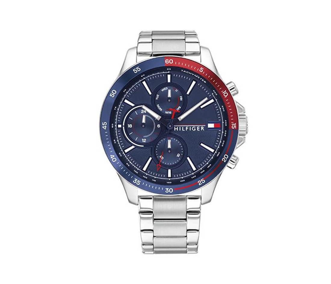 Horloge met Blauwe en Rode Rand van Tommy Hilfiger TH1791718