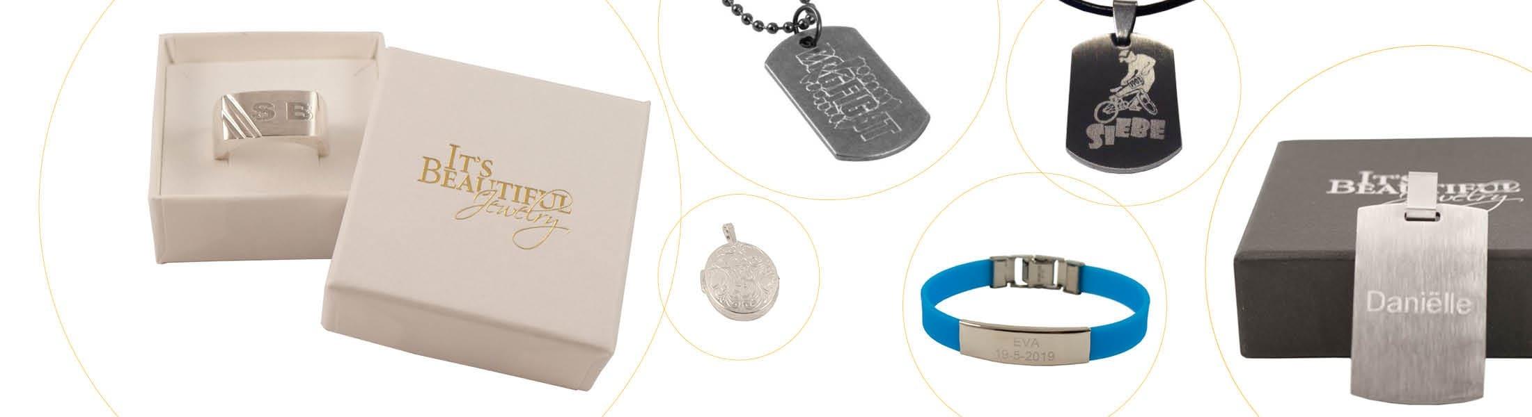 1) Laat de mooiste sieraden graveren met jouw foto, logo of tekst.
