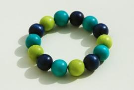 Armband in blauw, groen en turquoise (ABH-002)