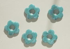 Aqua bloemen met open hart  (AC-056-PH)