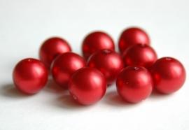 Grote rode parels met satijnglans, heel mooi! (P79BK)