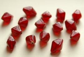 Grote rode bicones van glas, handgemaakt ((K-012-BK)