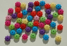 Kleurige bloemetjeskralen of dikke spacers (AC-113-PH6)