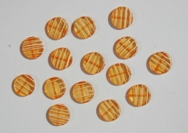 Platte ronde licht oranje kralen met streepjespatroon (AC-031)
