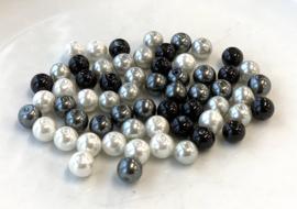 Parelmix in wit, zwart, lichtgrijs en donkergrijs, 8 mm (P-051)