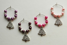 Kerst-winecharms in rose-paars nuances (WCT-010)