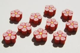 Bloemetjeskralen fimoklei rood met wit (AC-103-PH6)