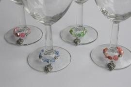 Winecharms in zachte pasteltinten, met hartjes (WCT-006)